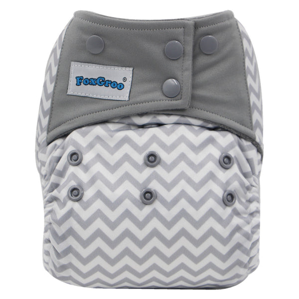 FoxGroo All in One Cloth diaper,Chevron sewn with 3 layers microfiber insert