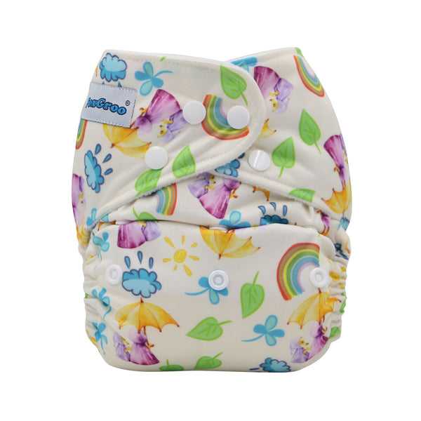 FoxGroo Pocket Diaper,April Showers Print with one 4 layers bamboo insert