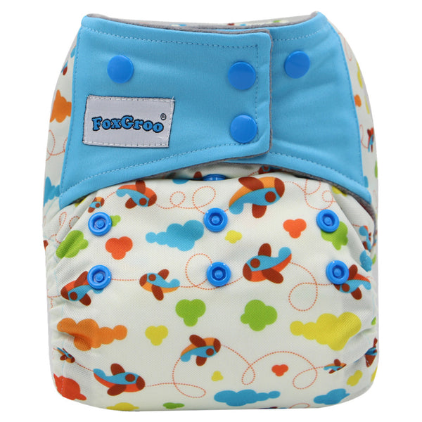 FoxGroo All in One Cloth diaper,Plane sewn with 3 layers microfiber insert