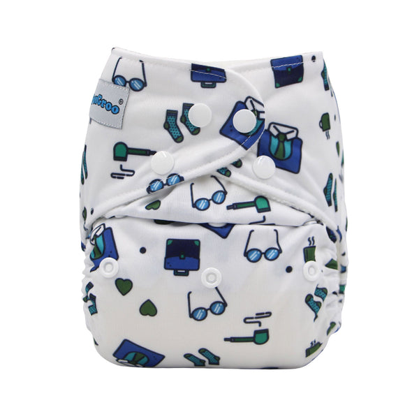 FoxGroo Pocket Diaper,Gentleman's Etiquette Print with 4 layers bamboo insert