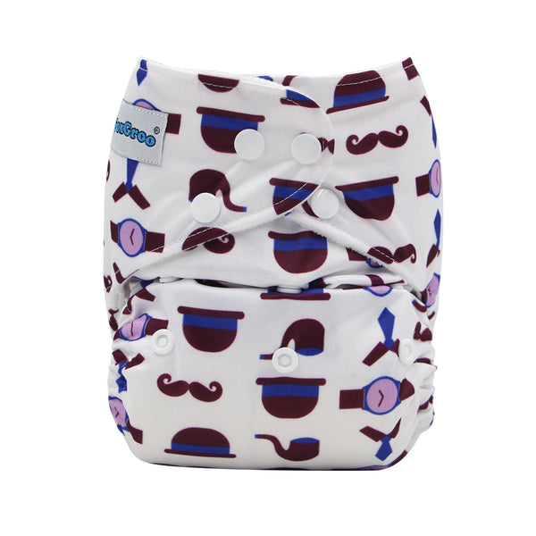 FoxGroo Pocket Diaper,Sherlock Print with 4 layers bamboo insert