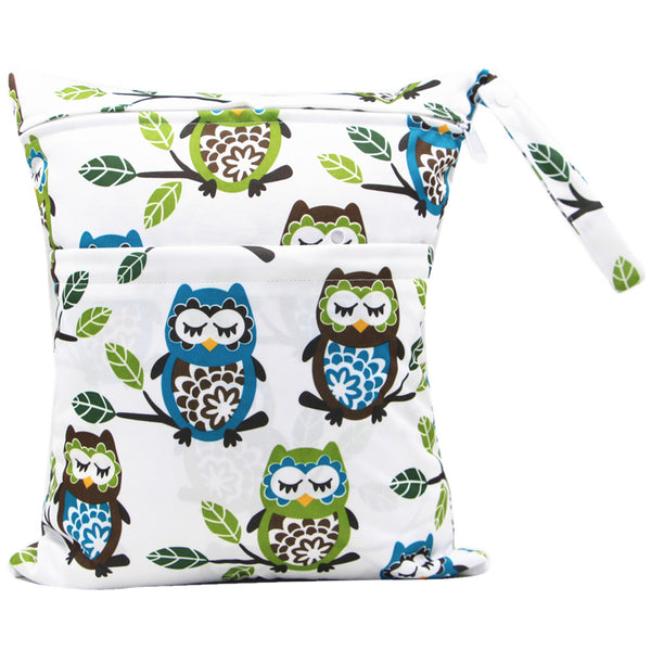 big owls Travel Wet and Dry Wet Bags Waterproof Reusable with Two Zippered Pockets