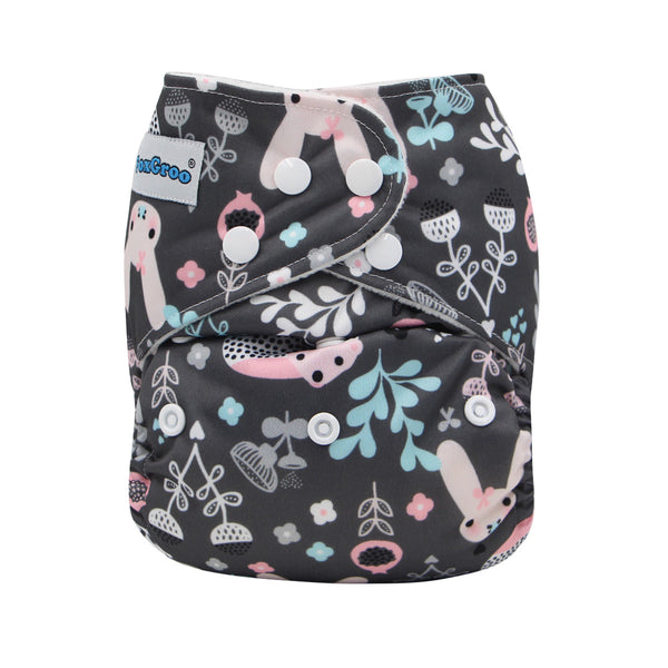 FoxGroo Pocket Diaper,Blossom print with 4 layers bamboo insert