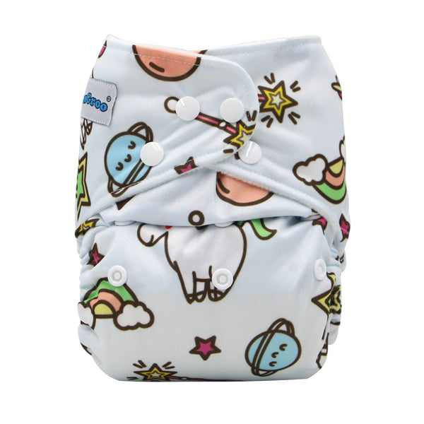 FoxGroo Pocket Diaper,Space Unicorn Print with 4 layers bamboo insert