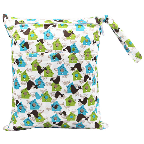 house and birds Travel Wet and Dry Wet Bags Waterproof Reusable with Two Zippered Pockets