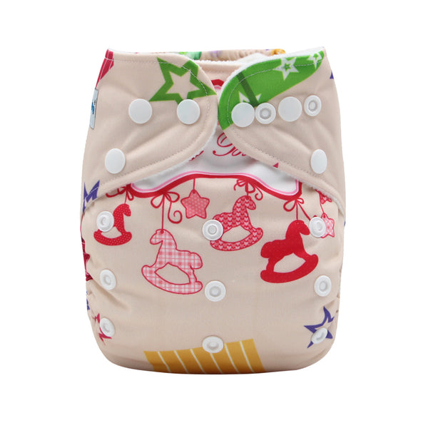 FoxGroo Pocket Diaper,Birthday print with 4 layers bamboo insert