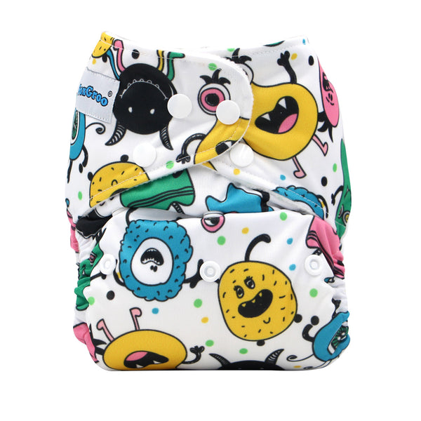 FoxGroo Pocket Diaper,Summer Party Print with 4 layers bamboo insert