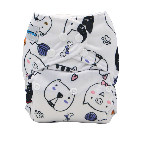 FoxGroo Pocket Diaper,My Pets Print with 4 layers bamboo insert