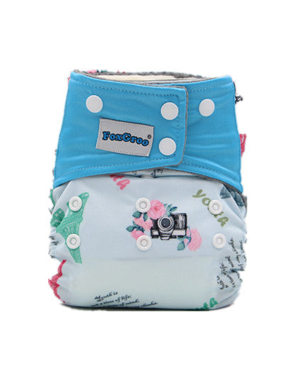 FoxGroo All in One Cloth diaper,Youth Print  with 3 layers microfiber insert