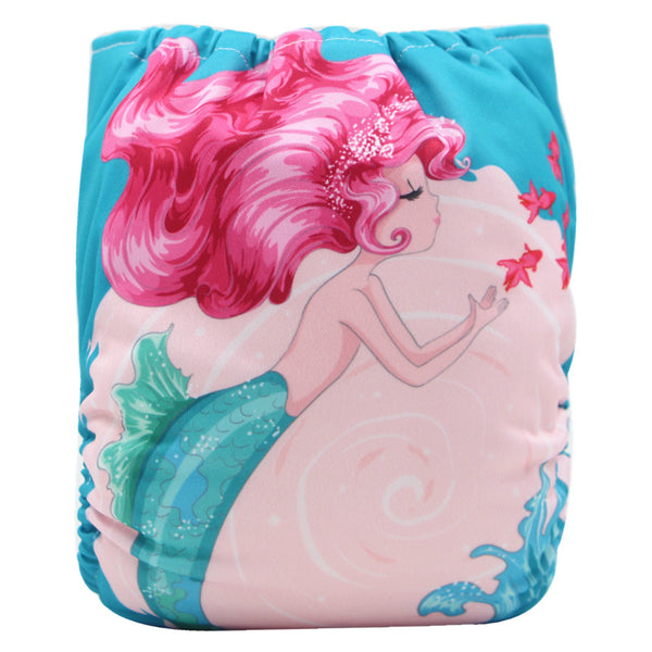 Asenappy Mermaid suede cloth diaper with one 4 layers bamboo insert