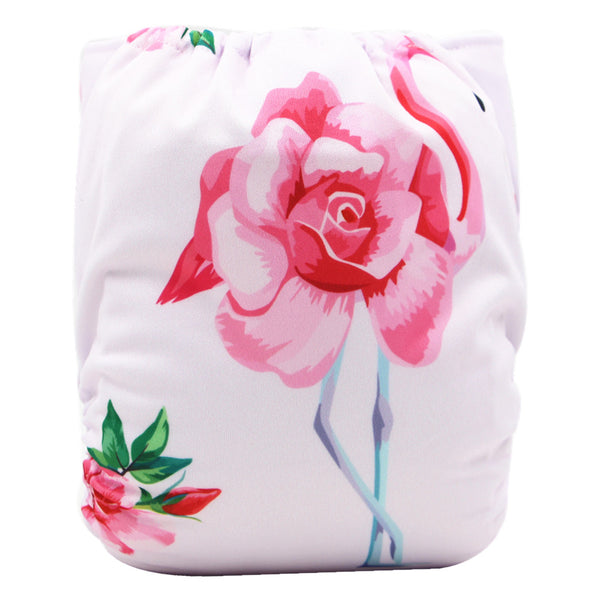 Asenappy Flamingoes suede cloth diaper with one 4 layers bamboo insert
