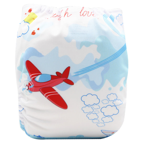 Asenappy Plane suede cloth diaper with one 4 layers bamboo insert