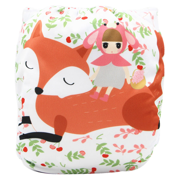 Asenappy Fox suede cloth diaper with one 4 layers bamboo insert