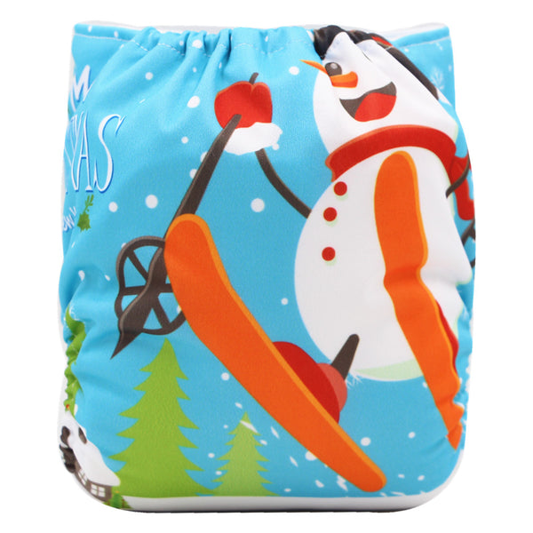 Asenappy Snowman suede cloth diaper with one 4 layers bamboo insert-big discount