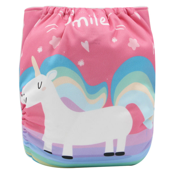 Asenappy unicorn suede cloth diaper with one 4 layers bamboo insert