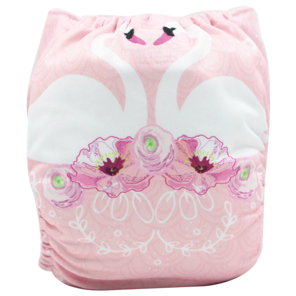 Asenappy swan suede cloth diaper with one 4 layers bamboo insert