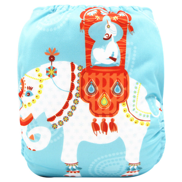 Asenappy elephant suede cloth diaper with one 4 layers bamboo insert