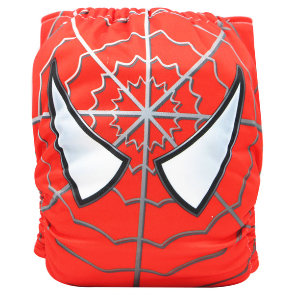 Asenappy spider-man suede cloth diaper with one 4 layers bamboo insert