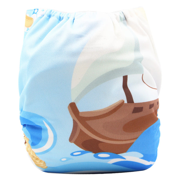 Asenappy Boat suede cloth diaper with one 4 layers bamboo insert