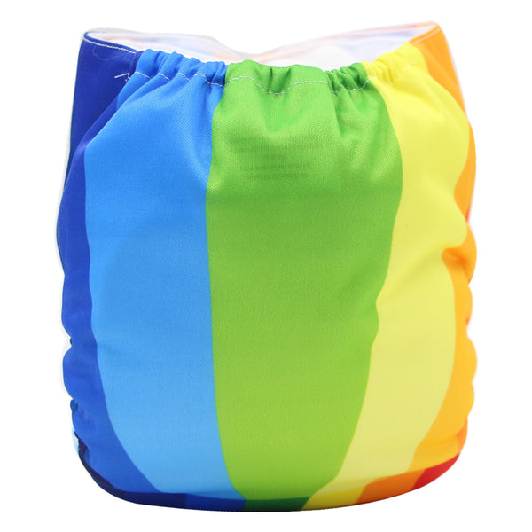 Asenappy Rainbow suede cloth diaper with one 4 layers bamboo insert