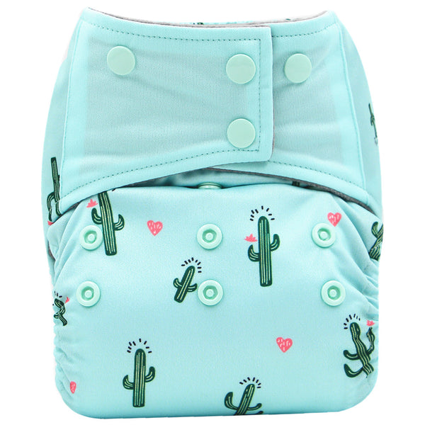 FoxGroo All in One Cloth diaper,Cactus sewn with 3 layers microfiber insert