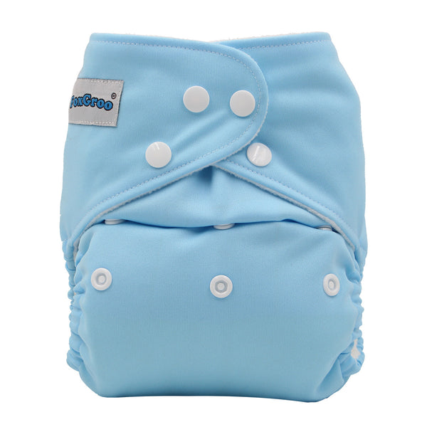 FoxGroo Pocket Diaper,Sky with 4 layers bamboo insert