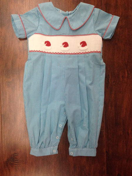 Three Sisters Turquoise Smocked Santa Hat Collared Longall