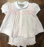 Feltman Pink Smocked Ribbon Diaper Set