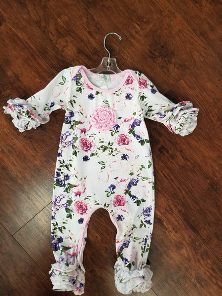 Dressy Floral Long Sleeve Sleeper with Ruffles