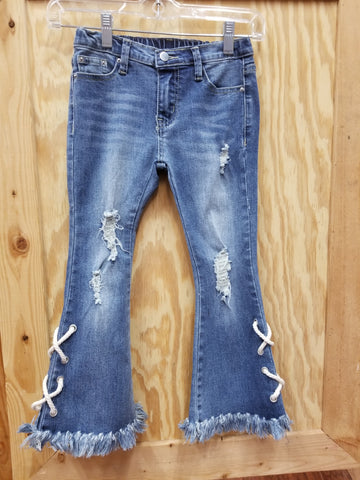 Tween Lace Up Destressed Flare Jeans