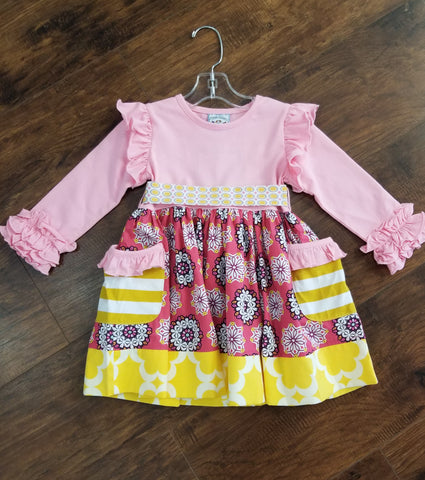 Three Sisters Razzleberry Dress With Pockets and Back Bow