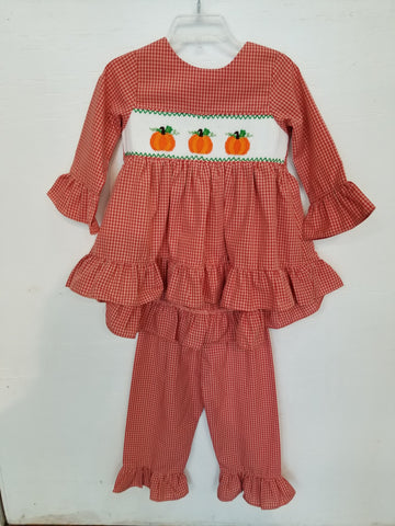 Mom & Me Smocked Pumpkin Two Piece Set
