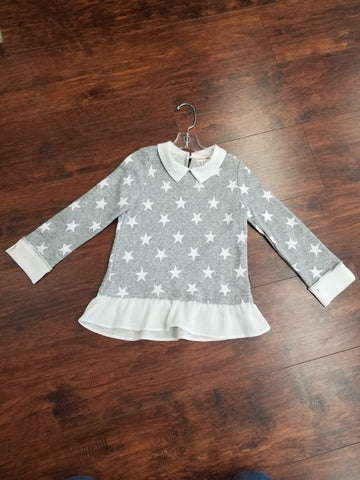 Collared Heather Gray Long Sleeve Shirt with White Stars