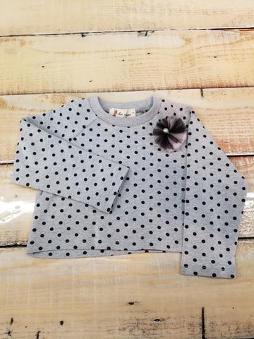 Doe A Dear Gray Polka Dot Top