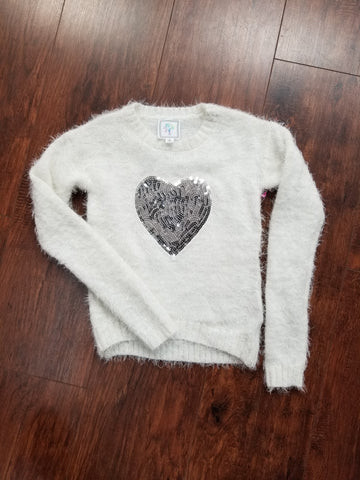 Tween White Fuzzy Sweater with a Heart