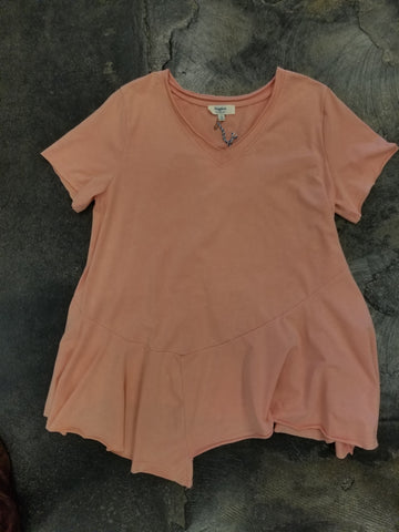 Tween Dusty Pink Asymmetrical Tee
