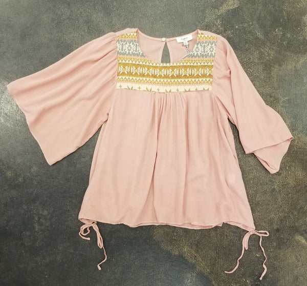Tween Dusty Pink Embroidered Top