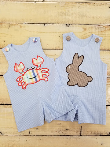 Three Sisters Crab Island/Bunny Applique Reversible Jon Jon