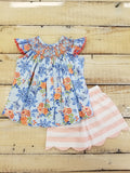 Three Sisters Bliss Bouquet Smocked Bishop Top/Shorts