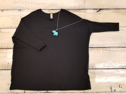 Tween 3/4 Sleeve Black Piko