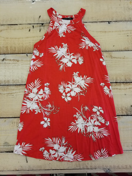Tween Sleeveless High Neck Red Tropical Tunic