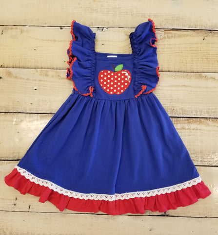 Blue Back To School Dress With Apple