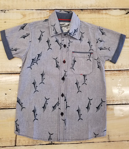 Boys Button Up Shark Print Shirt