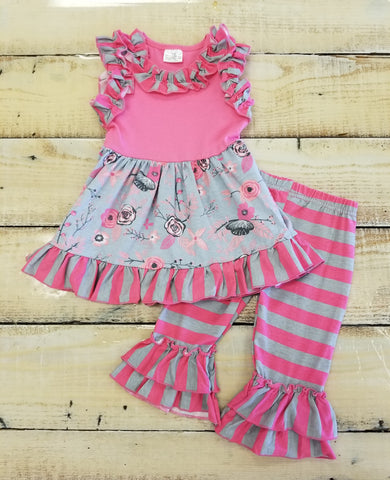 Girls Pink And Gray Two Piece Set