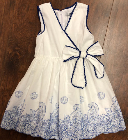 Dr.Kid White Sleeveless Dress with Paisley Print Hem