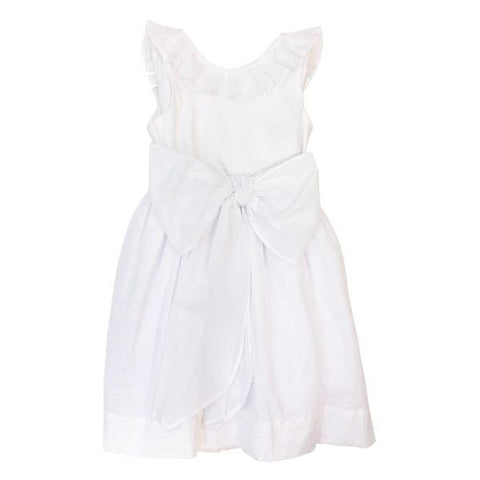 Bailey Boys Dottie Swiss White Dress with Sash