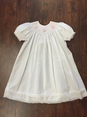 Feltman Brothers White Smocked Dress With Hand Embroidered Pink Flowers