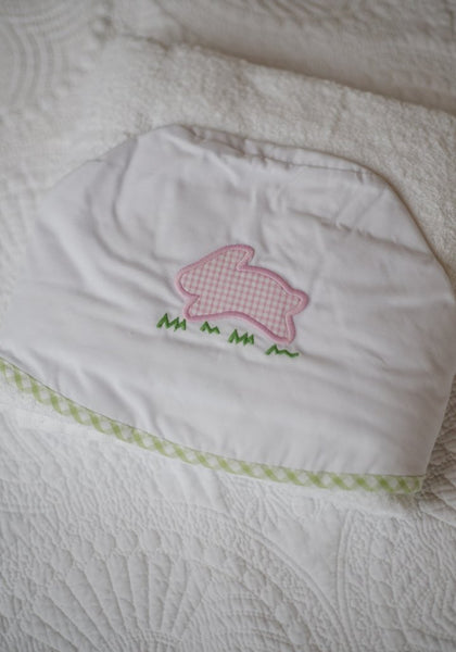 Little English Pink Bunny Appliqué Hooded Towel