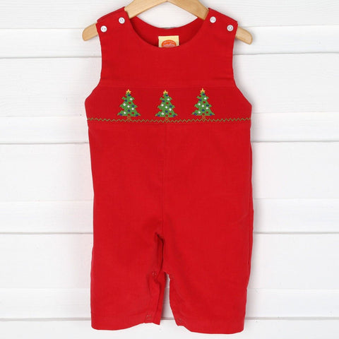 Mom&Me Boys Red Smocked Christmas Tree Longall