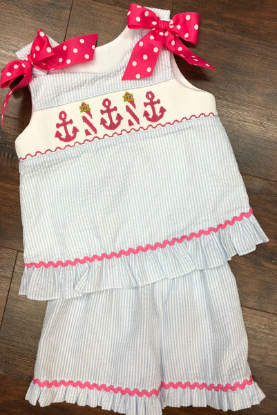 Banana Split Anchors Away Smocked A-Line Shorts Set